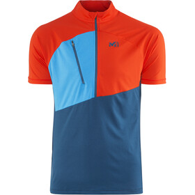 Millet Elevation Short Sleeve Zip Shirt Herre poseidon/orange